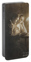 Vintage Loving Couple Reading With Oil Lamp Portable Battery Charger