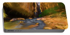 Virgin River - Zion National Park Watercolor Portable Battery Charger