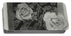 Portable Battery Charger featuring the drawing 2 White Roses by Quwatha Valentine