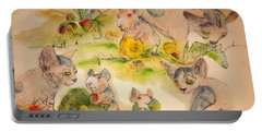 Portable Battery Charger featuring the painting World Of Guinea Pigs And Naked Cats Album by Debbi Saccomanno Chan