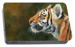 Portable Battery Charger featuring the painting Young Amur Tiger  by David Stribbling