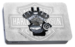 Portable Battery Charger featuring the digital art 2002 Harley-davidson Revolution Engine With 3d Badge  by Serge Averbukh