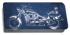 2007 Kawasaki Vulcan 2000 Ltd Blueprint Blue Background Classic Motorcycle Portable Battery Charger