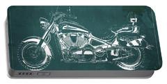 2007 Kawasaki Vulcan 2000 Ltd Blueprint Green Background Classic Motorcycle Portable Battery Charger