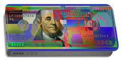 2009 Series Pop Art Colorized U. S. One Hundred Dollar Bill No. 1 Portable Battery Charger by Serge Averbukh