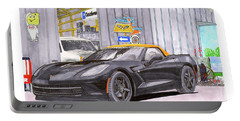Portable Battery Charger featuring the painting 2014 Corvette And Man Cave Garage by Jack Pumphrey