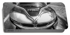 Portable Battery Charger featuring the photograph 2015 Bmw I8 Hybrid Sports Car Bw by Rich Franco