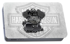Portable Battery Charger featuring the digital art 2015 Harley-davidson Street-xg750 Engine With 3d Badge  by Serge Averbukh