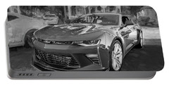 Portable Battery Charger featuring the photograph 2017 Chevrolet Camaro Ss2 Bw by Rich Franco