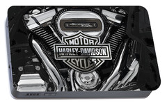 Portable Battery Charger featuring the digital art 2017 Harley-davidson Screamin' Eagle Milwaukee-eight 114 Engine With 3d Badge by Serge Averbukh