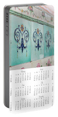 Portable Battery Charger featuring the photograph 2017 Wall Calendar Blue Ceramic Tiles by Ivy Ho