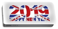 2019 Happy New Year England Flag Illustration Portable Battery Charger