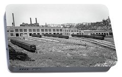 Portable Battery Charger featuring the photograph 207th Street Railyard by Cole Thompson