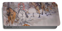 Portable Battery Charger featuring the painting Talley Ho Album  by Debbi Saccomanno Chan