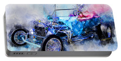23 Model T Hot Rod Watercolour Illustration Portable Battery Charger