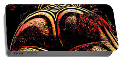 Portable Battery Charger featuring the digital art 2574s-res Zebra Striped Booty Rendered As Abstract Oil Painting by Chris Maher