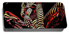 Portable Battery Charger featuring the digital art 2669s-ak Squatting Nude Rendered As Abstract Painting by Chris Maher