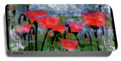 26a Abstract Floral Red Poppy Painting Portable Battery Charger