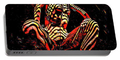 Portable Battery Charger featuring the digital art 2761s-ak Abstract Painting Rendered Of Squatting Nude Zebra Striped Woman by Chris Maher