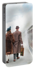1940's Couple On A Railway Platform With Steam Train  Portable Battery Charger by Lee Avison