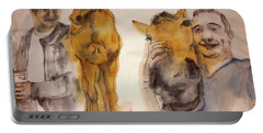 Portable Battery Charger featuring the painting American Pharaoh Abum by Debbi Saccomanno Chan