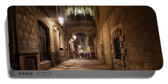 Gothic Quarter In Barcelona By Night Portable Battery Charger