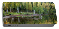 Birches And Reflection Portable Battery Charger