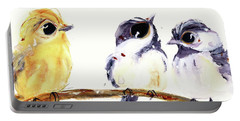 Portable Battery Charger featuring the painting 3 Birds On A Branch by Dawn Derman
