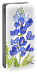 Bluebonnet Portable Battery Charger by Kathleen McElwaine