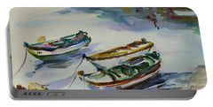 Portable Battery Charger featuring the painting 3 Boats I by Xueling Zou