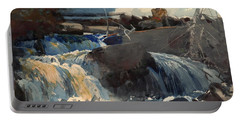 Casting In The Falls Portable Battery Charger by Winslow Homer