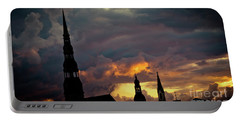 Portable Battery Charger featuring the photograph Cloudscape Of Orange Sunset Riga Latvia Artmif by Raimond Klavins