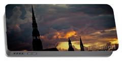 Cloudscape Of Orange Sunset Riga Latvia Artmif Portable Battery Charger