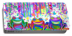 Portable Battery Charger featuring the painting 3 Colorful Painted Frogs by Nick Gustafson