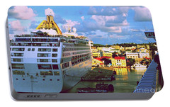 Portable Battery Charger featuring the photograph Cruise Ship In Port by Gary Wonning