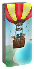 3 Dogs Singing In A Hot Air Balloon Portable Battery Charger
