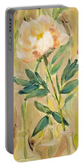 Portable Battery Charger featuring the painting 3 Flowers by Maria Langgle