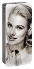 Grace Kelly, Vintage Hollywood Actress Portable Battery Charger by John Springfield