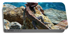 Green Iguana Portable Battery Charger by Anthony Dezenzio