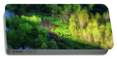 3 Horses Grazing On The Bank Of The Verde River Portable Battery Charger