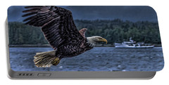 Portable Battery Charger featuring the digital art In Flight. by Timothy Latta