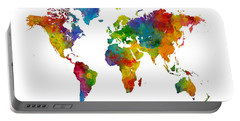 Map Of The World Map Watercolor Portable Battery Charger