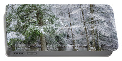 March Snow Along Cranberry River Portable Battery Charger