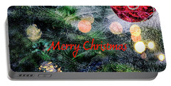 Merry Christmas Background Portable Battery Charger by Patricia Hofmeester