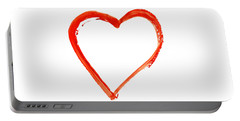 Portable Battery Charger featuring the drawing Painted Heart - Symbol Of Love by Michal Boubin