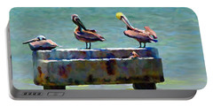 3 Pelicans Portable Battery Charger by David  Van Hulst