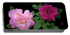 3 Pink Roses Cutout Portable Battery Charger by Shirley Heyn
