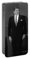 Portable Battery Charger featuring the photograph President Ronald Reagan by War Is Hell Store