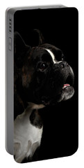 Purebred Boxer Dog Isolated On Black Background Portable Battery Charger