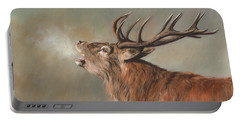 Red Deer Stag Portable Battery Charger by David Stribbling